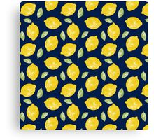 Watercolour Lemons and Leaves Pattern Canvas Print