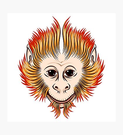 Fire Monkey Face Photographic Print