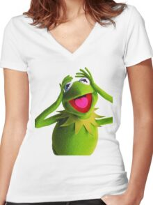 KERMIT THE FROG Women's Fitted V-Neck T-Shirt