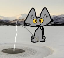 Cat Ice Fishing Sticker