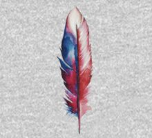 Red Spirit Feather Watercolor Kids Tee