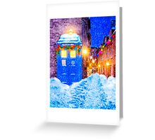 Old Blue Police Box In A Christmas Snow Greeting Card