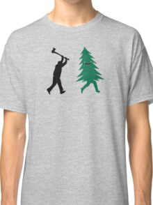 Funny Christmas Tree Hunted by lumberjack (Funny Humor) Classic T-Shirt