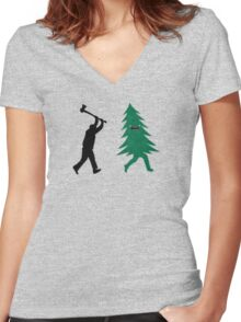Funny Christmas Tree Hunted by lumberjack (Funny Humor) Women's Fitted V-Neck T-Shirt