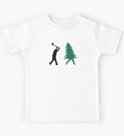 Funny Christmas Tree Hunted by lumberjack (Funny Humor) Kids Clothes