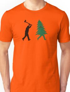 Funny Christmas Tree Hunted by lumberjack (Funny Humor) Unisex T-Shirt