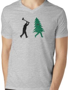 Funny Christmas Tree Hunted by lumberjack (Funny Humor) Mens V-Neck T-Shirt