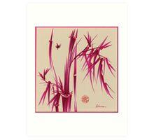 """Pink Gives Us Hope"" - Original sumi-e bamboo asian brush pen painting Art Print"