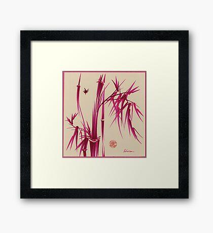 """Pink Gives Us Hope"" - Original sumi-e bamboo asian brush pen painting Framed Print"