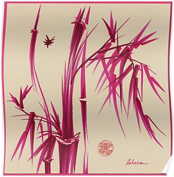 """Pink Gives Us Hope"" - Original sumi-e bamboo asian brush pen painting by Rebecca Rees"