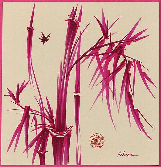 """""""Pink Gives Us Hope"""" - Original sumi-e bamboo asian brush pen painting by Rebecca Rees"""