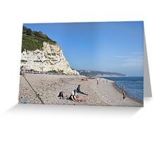 On The Beach At Beer, Devon. UK Greeting Card