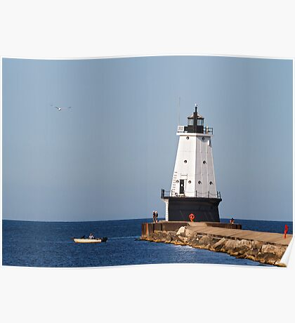 Ludington Light and Fishermen Poster