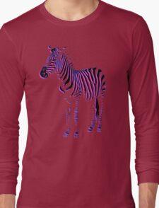 Zebra Pink and Blue Long Sleeve T-Shirt
