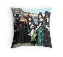 A well-dressed group of Goths in Whitby Throw Pillow