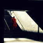 Buddhist Ascending From Public Transportation by Shandopics