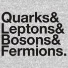 Quarks & Leptons & Bosons & Fermions. - black design by M Dean Jones