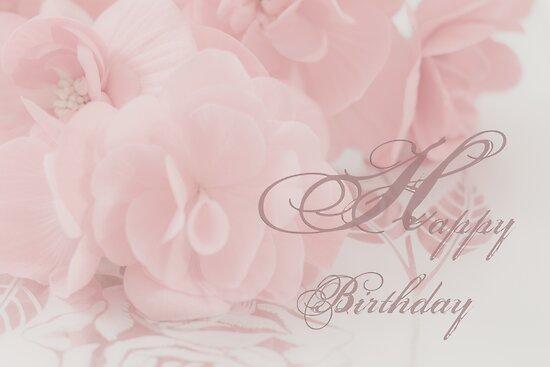 Happy Birthday Card - Begonias by Sandra Foster