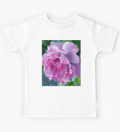 Mottled pink rose and bud Kids Tee