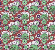 Sleeping Green Puppy Pattern by SaradaBoru