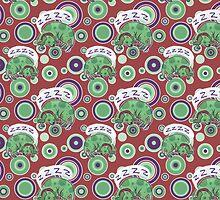 Sleeping Green Puppy Pattern by SaradaBoru