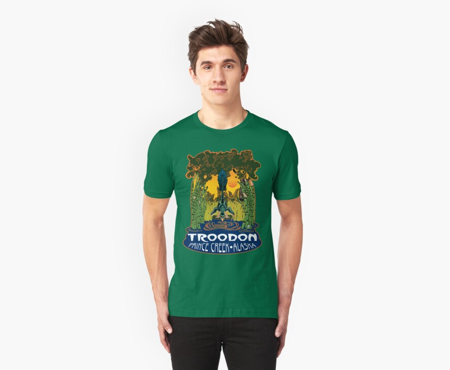 Retro Troodon in the Rushes (dark-colored shirt) by Raven Amos