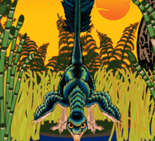 Retro Troodon in the Rushes (dark-colored shirt) Sticker