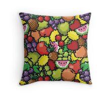 Kawaii Pixel Fruit Throw Pillow