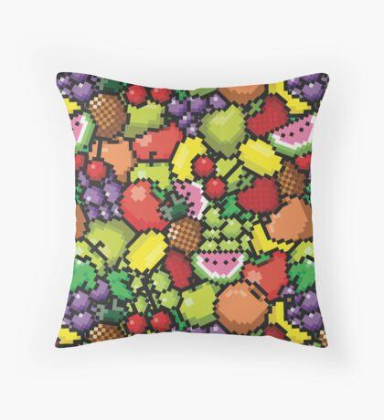 Kawaii Pixel Fruit Throw Pillow