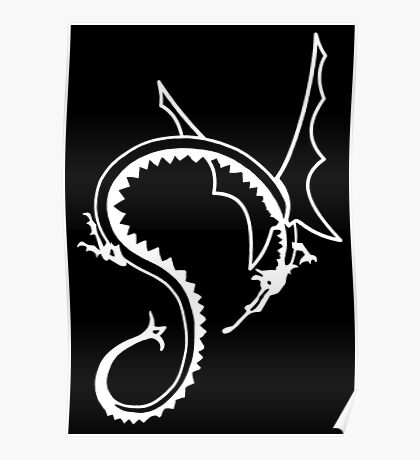 Curled Dragon - White on Black Poster