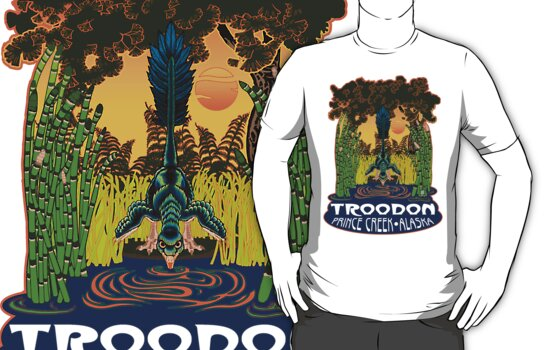 Retro Troodon in the Rushes (light-colored shirt) by alaskanime