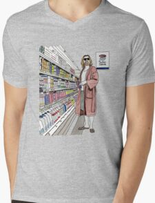Jeffrey Lebowski and Milk. AKA, the Dude. Mens V-Neck T-Shirt