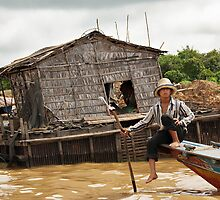 Floating Village Lake Tonl'e Sap-Siem - Cambodia by Malcolm Heberle