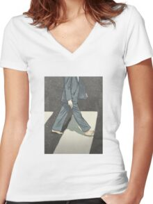 The Beatles Paul McCartney Illustration Abbey Road Zebra Crossing Women's Fitted V-Neck T-Shirt