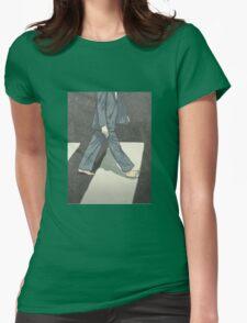 The Beatles Paul McCartney Illustration Abbey Road Zebra Crossing Womens Fitted T-Shirt