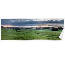 Foggy Farmscape Poster