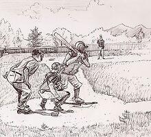 Mark Coulter at Bat- Baseball Drawing by SharksEatMeat