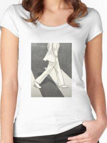 The Beatles John Lennon Illustration Abbey Road Zebra Crossing Women's Fitted Scoop T-Shirt