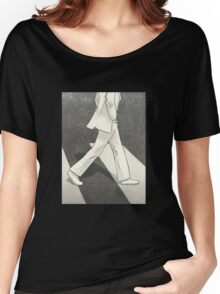 The Beatles John Lennon Illustration Abbey Road Zebra Crossing Women's Relaxed Fit T-Shirt