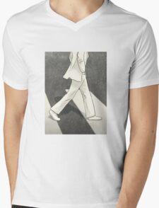 The Beatles John Lennon Illustration Abbey Road Zebra Crossing Mens V-Neck T-Shirt