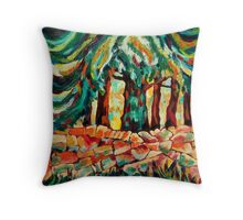 Tree and Wall in red Throw Pillow