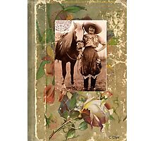 Vintage Cowgirl Horse Antique Book Rose Photographic Print