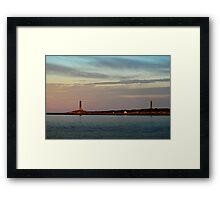 Thacher Island Lights as Dusk Framed Print