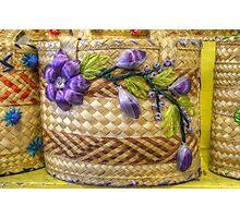 Old Fashion Handmade Straw Bag in The Bahamas Photographic Print