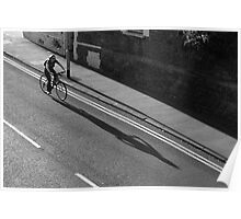Girl on a Bicycle BW Poster