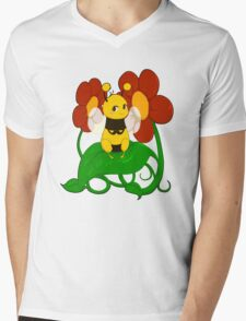 Cute bee with flowers Mens V-Neck T-Shirt