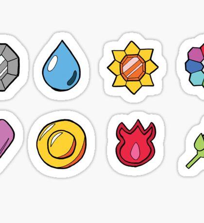 Kanto League Pokemon Inspired Badges Sticker