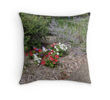 Park adorned with flowers Throw Pillow