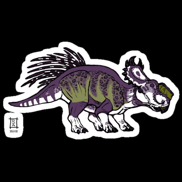 Purple and Green Pachyrhinosaurus by alaskanime