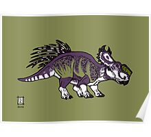 Purple and Green Pachyrhinosaurus Poster